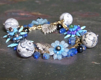 Silver and Blue Flower Bracelet | Floral Charm Bracelet with Lucite Leaves, Crazy Lace Agate and Heart Toggle Clasp | Pale Petal Bracelet