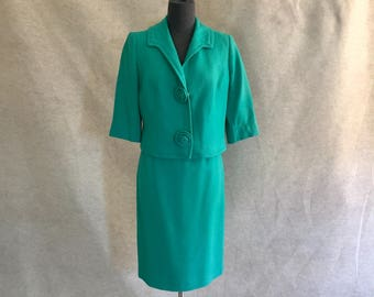 BLOWOUT SALE....Vintage 60's Skirt Suit, Green Skirt Suit, Green Jacket and Skirt, Fitted Suit,  XL to Small, Waist 25, Retro, 50's Mad Men