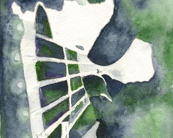 Guitar Pickin' watercolor print:   Guitar, music, teacher gift, finger picking, guitar picking, music, rock msic,
