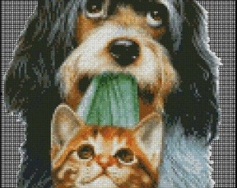 DOG AND CAT cross stitch pattern No.148