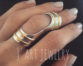 """Double ring, full finger ring, statement ring, sterling silver ring """"Odalisque"""""""