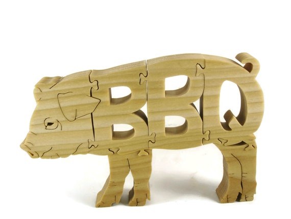 BBQ Pig Jigsaw / Scroll Saw Puzzle Handcrafted From Poplar Wood By KevsKrafts