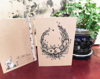 Floral Poppy Wreath Greeting Card