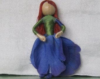Purple Iris Flower Fairy - Fairy Doll - Waldorf doll, doll ornament
