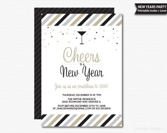 New Years Invitation New Years Party Invitation Printable New Years Eve Party Digital Invitation Cheers Invitation New Years Invite 2016