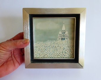 Mini Artwork 5 x 5 Le Sacre Coeur Cathedral Paris 1960s Abstract Print Brushed Stainless Frame