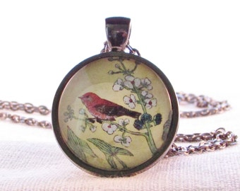 Pendant - Necklace - Brown Bird Wearable Art - Birthday Gift for Her - Nature Pendant -Bird Pendant - Gift for Woman - Flower - Gift for Her