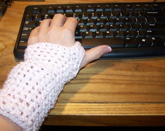Crocheted Hand Warmers In Shimmery Pink