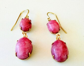 Raw Brass and Pink Rhodonite Graduated Oval Dangle Drop Fish Hook Earring