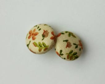 Fabric earrings. vintage - made in Quebec fabric buttons
