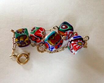 Vintage Venetian Glass Millie Fiore Italian Bead Bracelet