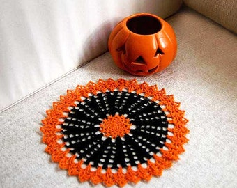 Orange and Black Crochet Lace Doily, Fall Decor, 8 Inch Doily, Table Decoration, Autumn Home Decor, Halloween, Thanksgiving, New