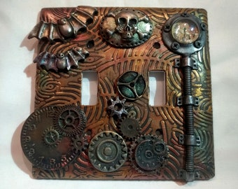 Polymer Clay Rusted Steampunk wall switch plate