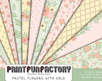 Floral digital paper - pastel flowers with gold background paper - 12 digital papers (#203) INSTANT DOWNLOAD