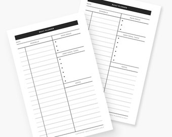 Printable Daily Planner - Half Letter Sized Sheet PDF - Minimalist To-Do List - Black and White - Instant Download