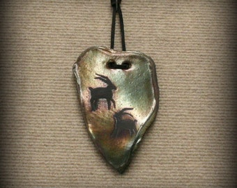 Raku, Raku Pottery, Raku Wall Art with Cave Goats in Metallic and Iridescent Colors