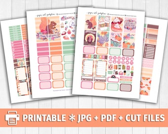 THANKSGIVING WATERCOLOR Printable Planner Stickers/for use with Erin Condren/Weekly Kit/Silhouette Cutfiles/Autumn Fall Pastel Stickers