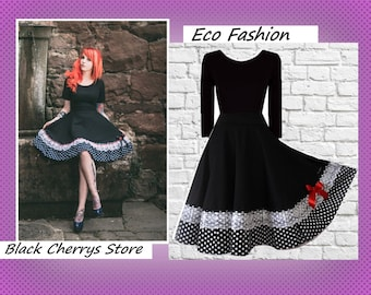 S M L XL Pin Up Dress Swing Rockabilly Wedding 50s 60s Bridal Dress Retro Wedding Dots Lace Petticoat Dress Black Cherrys Store