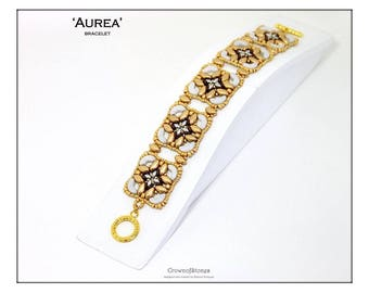 Bead pattern beaded bracelet Aurea made with Irisduo, Miniduo, O beads, Arcos par Puca and seed beads