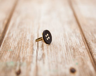 Black round ring, Black & gold ring, Adjustable ring, Gold adjustable ring, Adjustable large ring, Black ring, Round ring, Big black ring