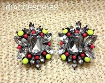 Statement Earrings, Chunky Earrings,  Jewelry Statement, Fashion Earrings, Stud Earrings, Earrings, Multicolor Earrings