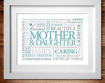 Mother & Daughter Word Art Print* Duck Egg A4 (also available in A3)