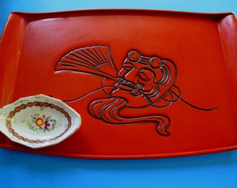 SALE Japanese Lacquer Tray red negoro mask