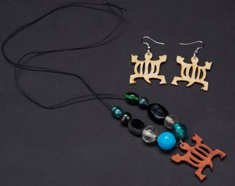 """Necklace and Earring set. African symbol of Turtle representing """"Adaptability"""""""