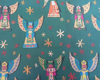 Vintage Christmas Gift Wrapping Paper - Paper Angels on Green Starry Background- 1 Unused Full Sheet Christmas Gift Wrap