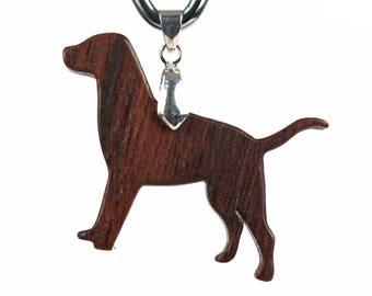 Labrador Retriever Necklace, Lab Dog Pendant, Labrador Retriever Jewelry, Wood Dog Breed Pendant, Dog Commemorative Charm, Walnut