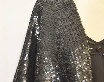 Woman STOLE VINTAGE 80 Woman Elegant PAILLETTES Stole Black Stretchy Shawl Scarf Party