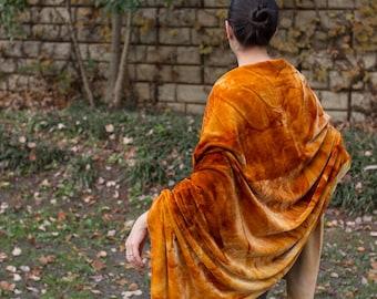 Rusted Velvet Shawl/Scarf/Wrap Silk Blend - Free Shipping