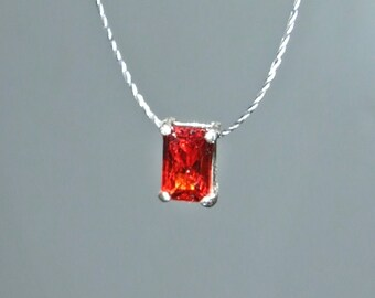 2ct emerald cut orange padparadscha sapphire sterling silver dainty orange sapphire solitaire cord necklace minimalist emerald cut lab created sapphire aloadofball Image collections