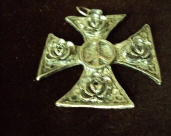 Vintage Silver Tone Maltese Cross Pendant 1960's