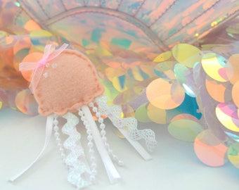 Orange Jellyfish Plush Pin