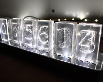 NIXT CLOCK  - Acrylic Nixie Led Clock - Acrylic Nixie Lamp - Easy Assembly - USB Powered