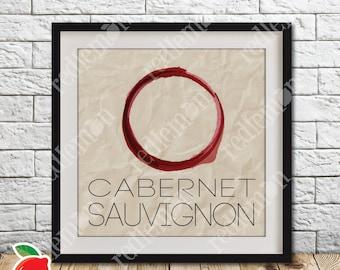 Cabernet Sauvignon Wine Stain Themed Print