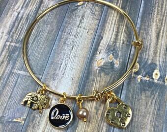 Gold Charm Bangle Bracelet, bangle bracelet, charm bracelet, jewelry, gifts for her, stackable bracelet