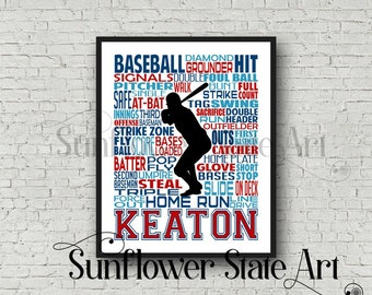 Baseball Art, Baseball, Baseball Gift Ideas, Pitcher, Catcher, Batter, Typography Personalized, Baseball Team Gift, Word Art Custom
