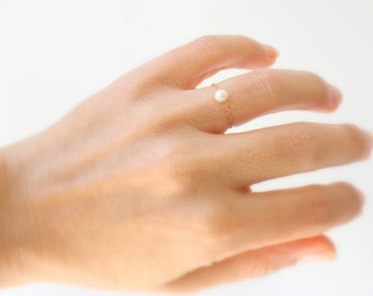 Pearl ring gold ring stack chain ring simple - pearl rings delicate ring everyday ring freshwater pearl stacking ring - rose gold pearl ring