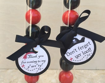 Pirate Theme Gumball Tube Party Favors / Supplies  - Set of 12 (Happy Birthday, Dress Up, Black & Red)