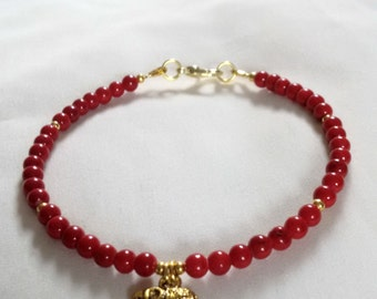 Bracelet - Elephant Bracelet - Red Coral with Elephant Charm - Boho Bracelet - Red Bracelet -