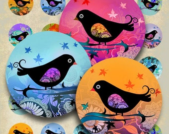 1 inch (25mm) and 1.5 inch circle images BIRDIE Digital Collage Sheet for pendants bottlecaps bezel tray settings magnets Art Cult downloads