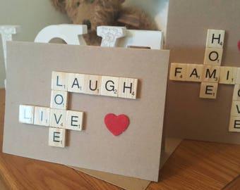 Scrabble tile message cards