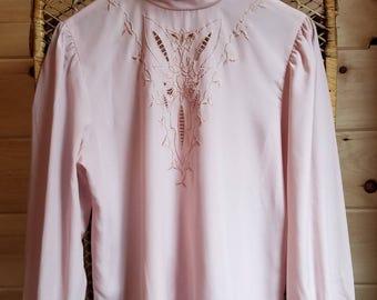 Pale Pink Prairie Blouse//Vintage//Size Small