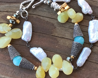 Opal Amazonite Pearl Bracelet toggle clasp yellow and blue mixed metals sterling silver gold