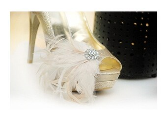 Wedding Shoe Clips. Champagne Ivory / Black Plum. Feathers Rhinestones. Bride Bridal Bridesmaids Shoe Clip, Edgy Birthday, Statement Boudoir