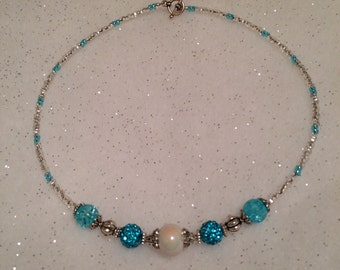 Gorgeous aqua and silver beaded necklace.