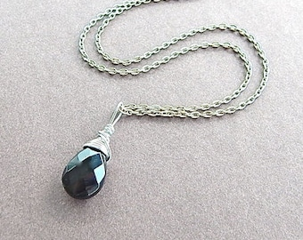 Black Onyx Gemstone Briolette Silver Wire Wrapped Pendant Teardrop Necklace