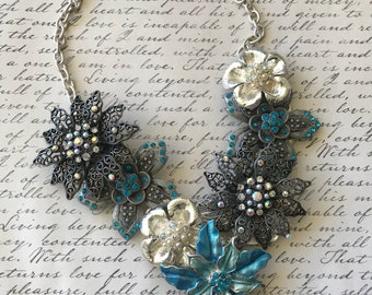 Prom Jewelry, Blue Necklace, Bib,  Womens Necklace, Ooak, Bridal Jewelry, Repurposed, Statement, Necklace, Wedding Necklace